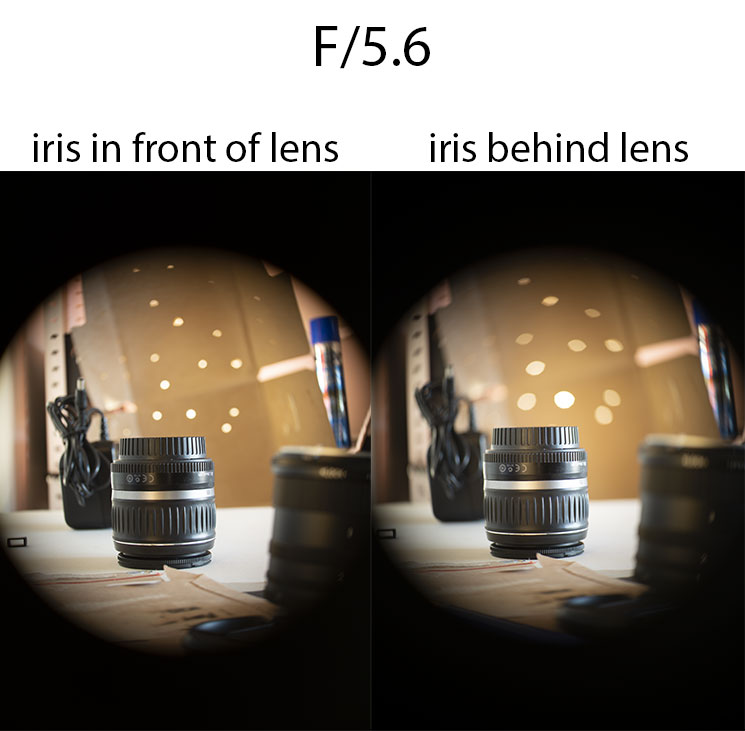 Comparison of photos taken with 50mm/2 projector lens with iris in front of lens at f/5.6 vs iris behind lens at f/5.6