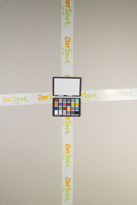 Photo of sheet of grey card taken on a full spectrum camera with a wide-angle lens with Schott BG40 filter
