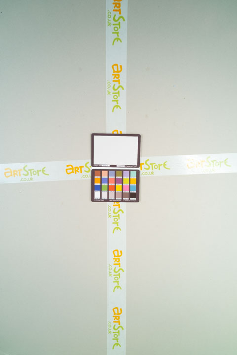 Photo of sheet of grey card taken on a full spectrum camera with a wide-angle lens with Tiffen Hot Mirror filter