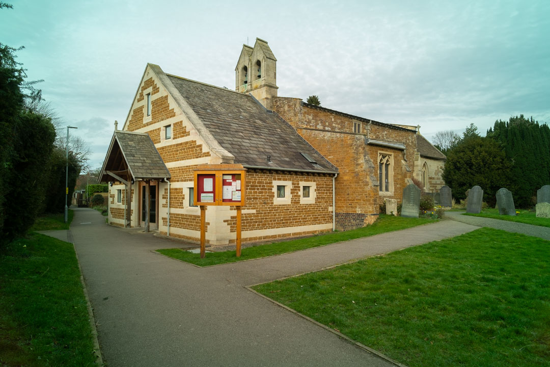 Photo of a church taken on a full spectrum camera with a wide-angle lens with B+W 486 filter