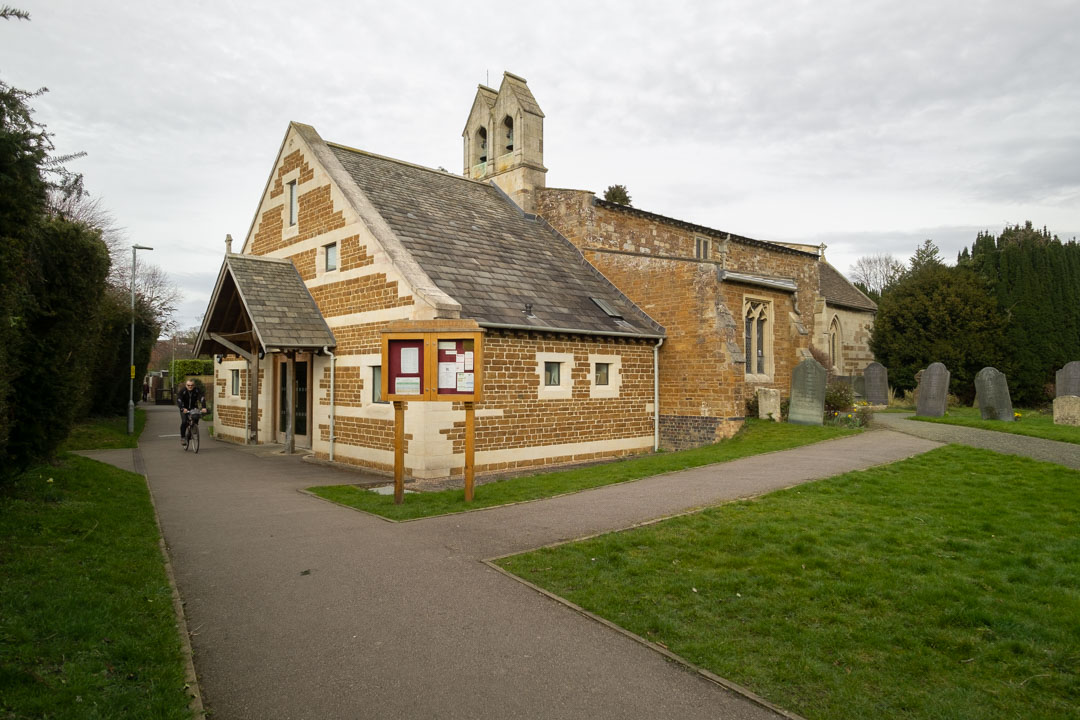 Photo of a church taken on a full spectrum camera with a wide-angle lens with Schott BG40 filter
