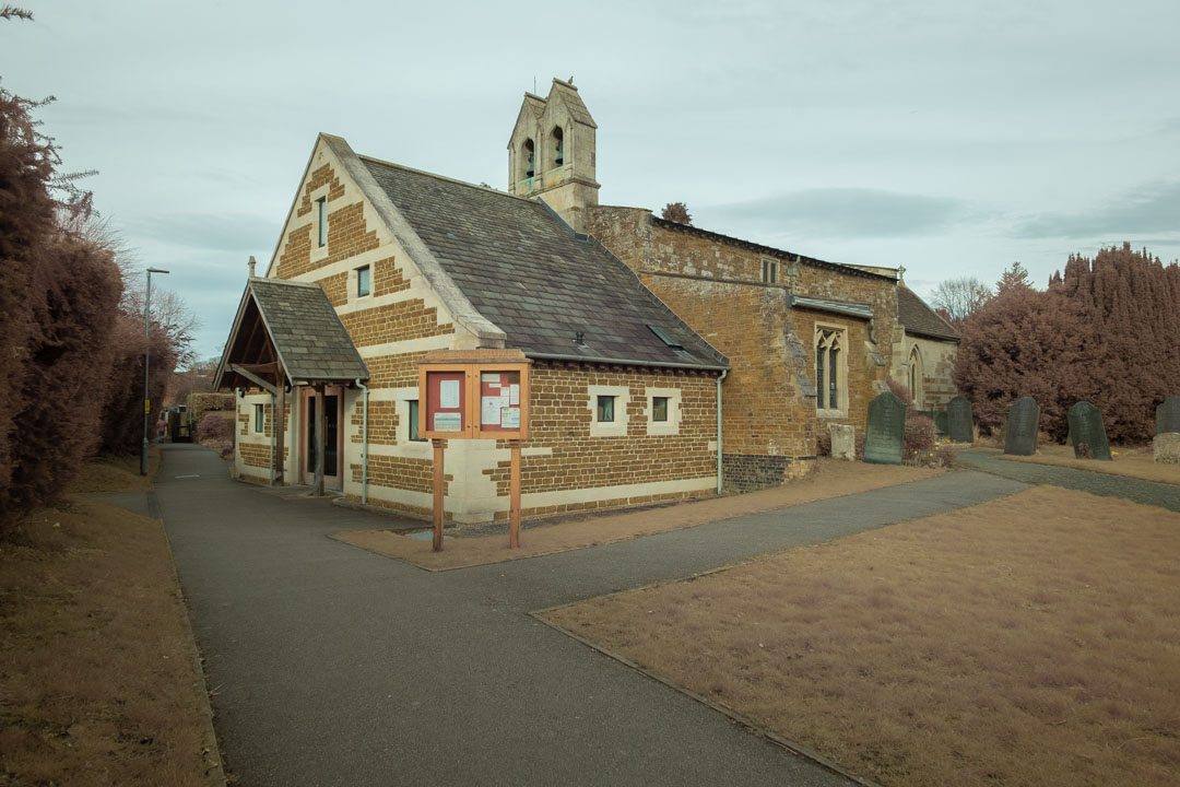 Photo of a church taken on a full spectrum camera with a wide-angle lens with no filter