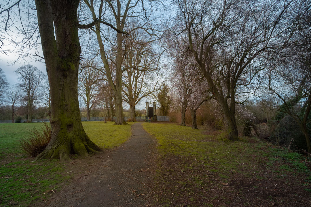 Photo of path and trees in a park taken on a full spectrum camera with a wide-angle lens with SLR Magic Image Enhancer Pro filter