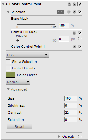 Colour Control Point settings