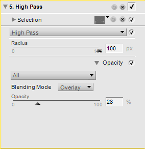 Settings for High Pass filter