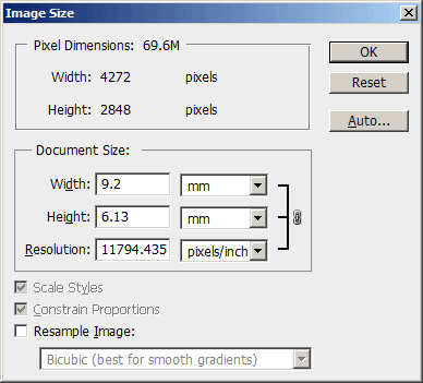 Image Resize dialog in Photoshop