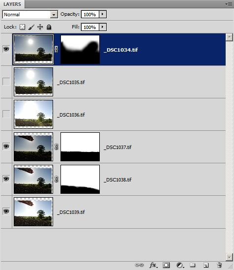 Layer palette in Photoshop showing images and layer masks