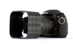 Nikon D200 with Cokin P filter holder and three sections of the modular lens hood