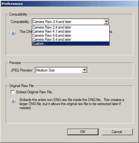 Adobe DNG Converter preferences screenshot