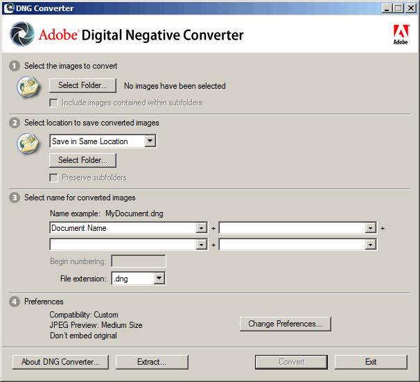 Adobe DNG Converter screenshot