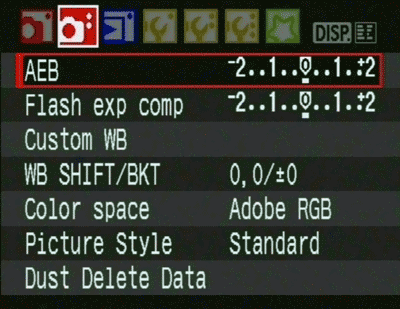 The settings menu where you can set Auto Bracketing on a Canon 450D DSLR