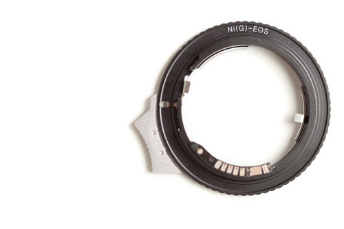 Canon EF mount side of the Nikon G AF-S AI F Lens to Canon EOS EF Mount Adapter