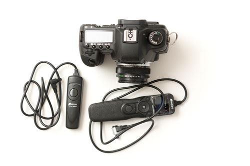Shoot RS-80N3 intervalometer remote shutter release cable, Standard Shoot RS-80N3 C3 remote shutter release cable, and 5D MkII camera size comparison