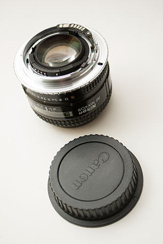 Nikon 50mm f1.4 D lens with Nikon AI to Canon EF adapter