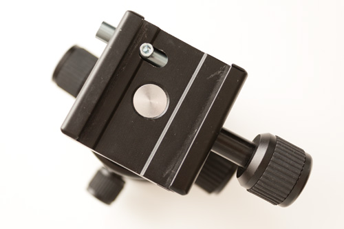 KS-1 ball head top showing locking pin on clamp
