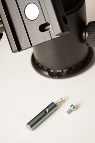 KS-1 ball head with the locking pin removed from the quick release clamp