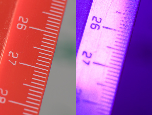 Crops of comparison images showing focus shift in Nikon 50mm f/1.4 D lens between visible and ultraviolet light
