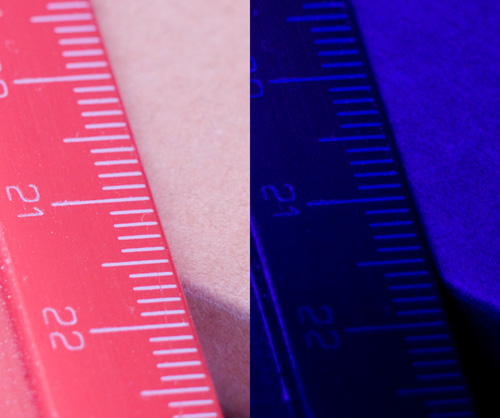 Crops of comparison images showing focus shift in Nikon 70-300mm f/4.5-5.6 VR lens between visible and ultraviolet light