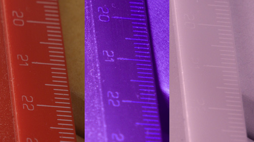 Crops of comparison images showing focus shift in EL-Nikkor 80mm f/5.6 lens between visible, ultraviolet, and infrared light