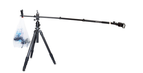Using a monopod as a tripod boom arm
