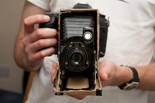 Kodak 1A Pocket Jr. bellows and lens modified on DSLR camera