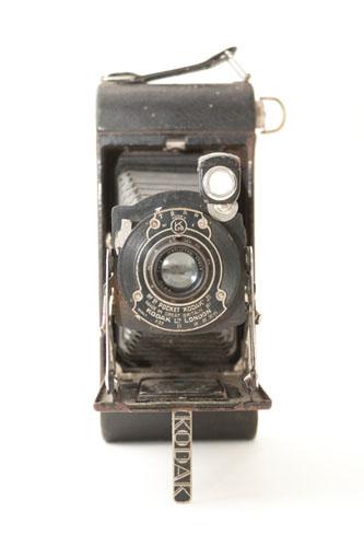 Kodak 1A Pocket Jr. folding bellows camera open front view