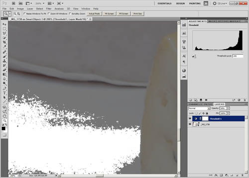 Threshold adjustment layer opacity reduced to 50% to show some detail in the underlying layer