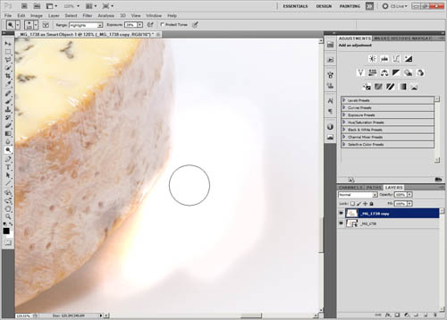 Using the dodge tool to blow out the background white - note how part of the cheese is blown out where the tool was painted over
