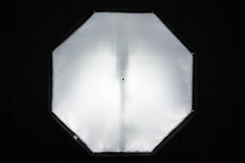 Octa umbrella softbox front panel illumination using flash with head set to -11° (approx) position