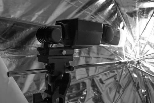 Flash on a Kaiser adjustable hot shoe mounted on umbrella holder in the Octa umbrella softbox