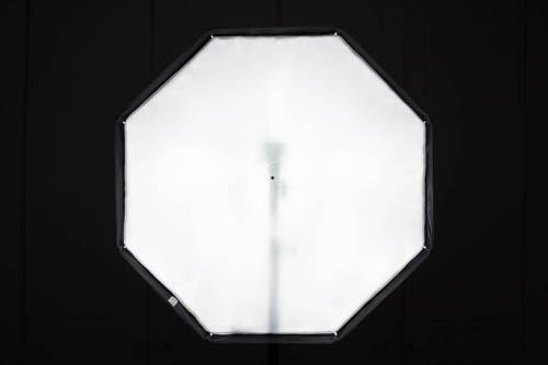 Octa umbrella softbox front panel illumination using flash on adjustable hot shoe pointing near the centre of the umbrella