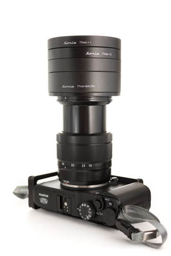 Fujifilm X-A1 camera with 16-50mm lens at around 50mm and stacked Sonia close-up lenses attached