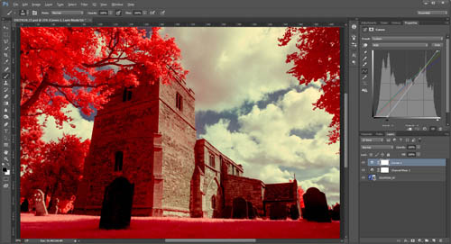Kodak EIR / Aerochrome style digital photo of All Saints Church, Lubenham