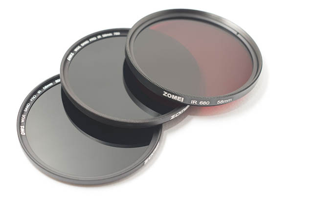 Zomei 850nm, 760nm, and 680nm infrared filters in 58mm size