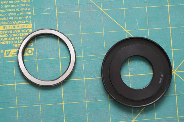 62mm male threads filed off 62-52mm step down ring, ready to glue to the adapter