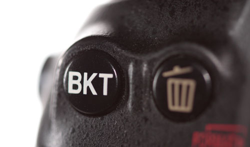 The bracket button on a Nikon D200 DSLR