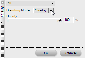 Settings dialog for Opacity